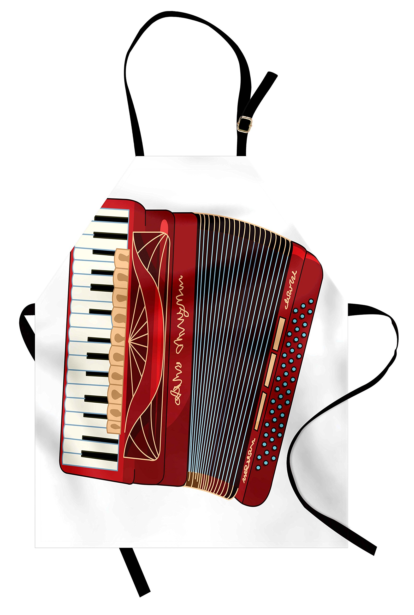 Lunarable Accordion Apron, Squeezebox Eastern European Ethnic Keyboard Pop Dance Melody and Harmony Theme, Unisex Kitchen Bib Apron with Adjustable Neck for Cooking Baking Gardening, Multicolor
