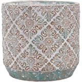 "INSPIRELLA Timeless Modern Indoor Flower Pot – 7.1"" Stunningly Detailed Ceramic Pots for Plants, Hand Glazed Cement Plant Pot"