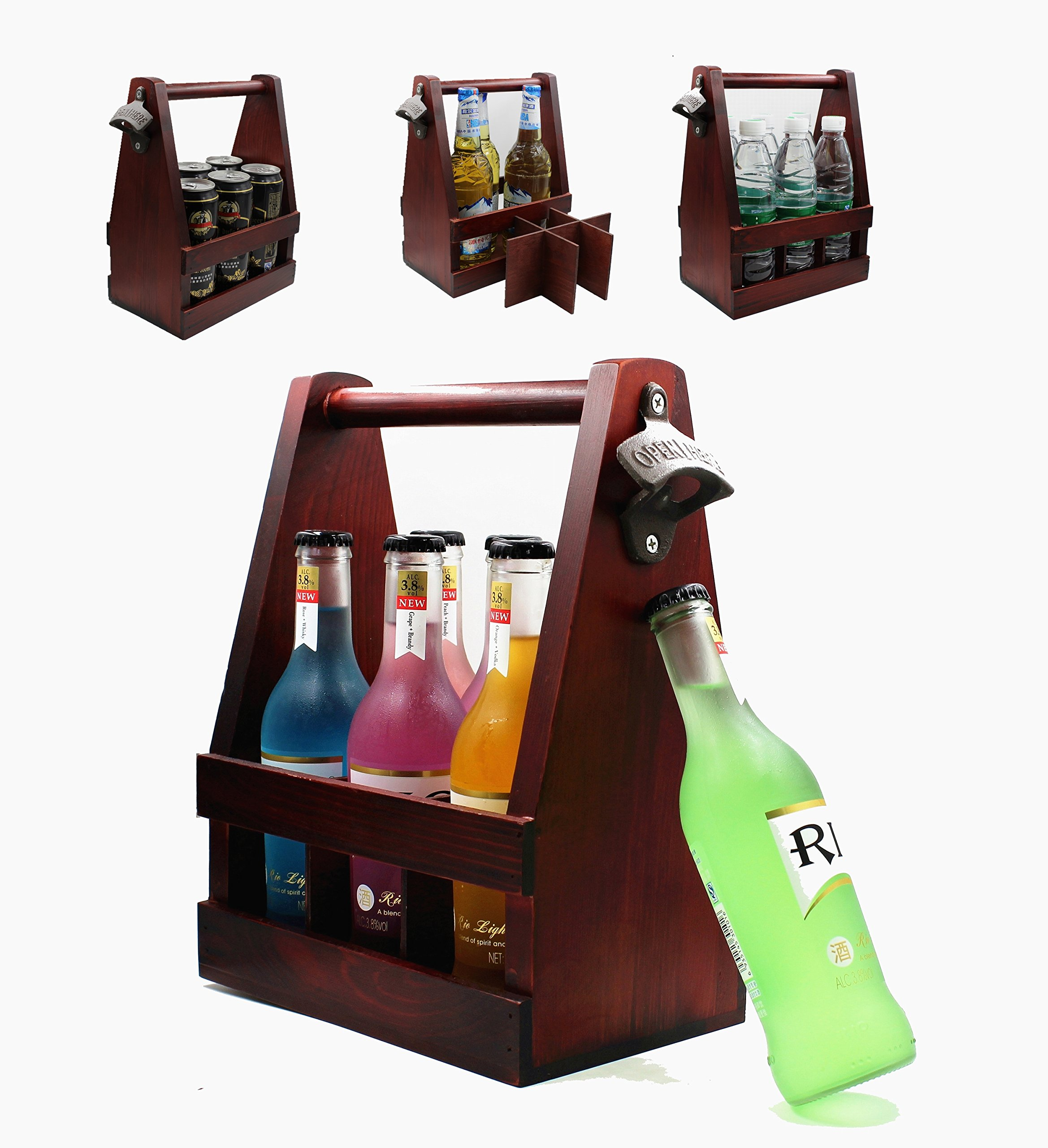 Wooden Beer Caddy / Carrier / Holder / Tote / Basket With Bottle Opener Handcrafted Wood Removable Inserts 6 Packs for  Anniversaries / Groomsman / Birthdays