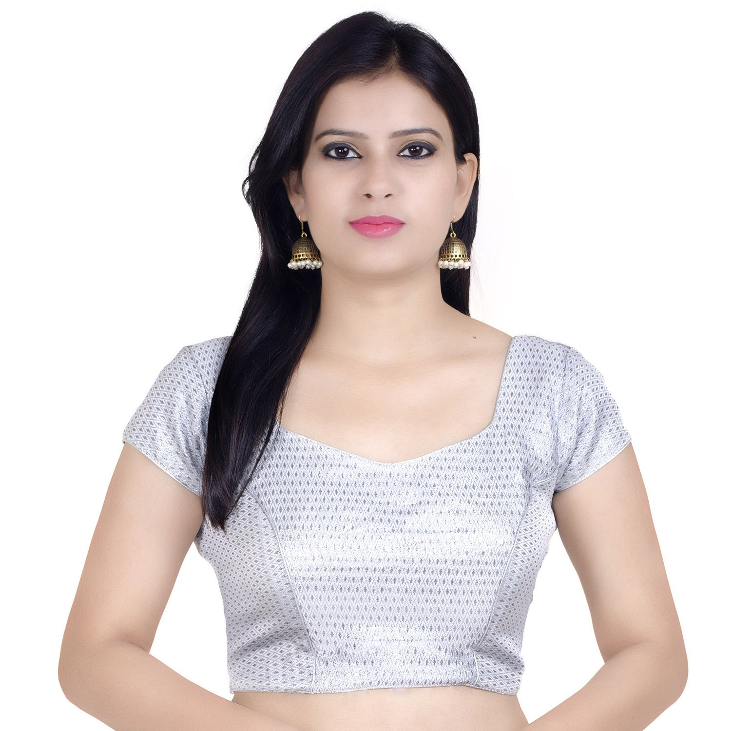 Chandrakala Women's Stretchable Readymade Lycra Silver Indian Ethnic Saree Blouse Crop Top Choli-X-Large (B106SIL5)