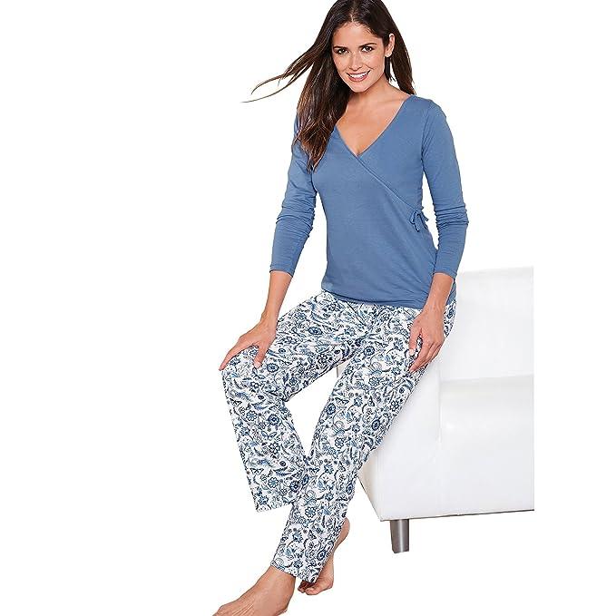VENCA Pijama Camiseta de Escote v Cruzado con Lazo en un costado by Vencastyle,Azul