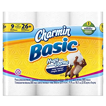 Amazon.com: Charmin Basic Toilet Paper, 9 Huge Rolls (Pack of 4 ...