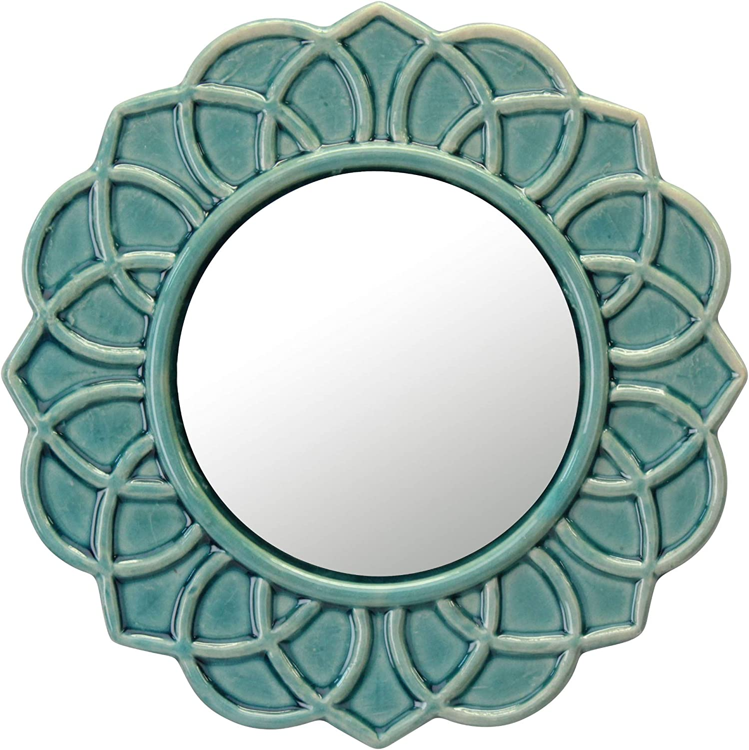 Stonebriar Turquoise Decorative Round Floral Ceramic Wall Hanging Mirror