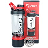 Apex Protein Shaker Bottle for Gym BPA Free 100% Leak-Proof Design Embossed Measurement Scale; Comes with 2 Extra Compartment Storage and Wire Blender Ball Mixer for Whey & BCAA; 600 ml