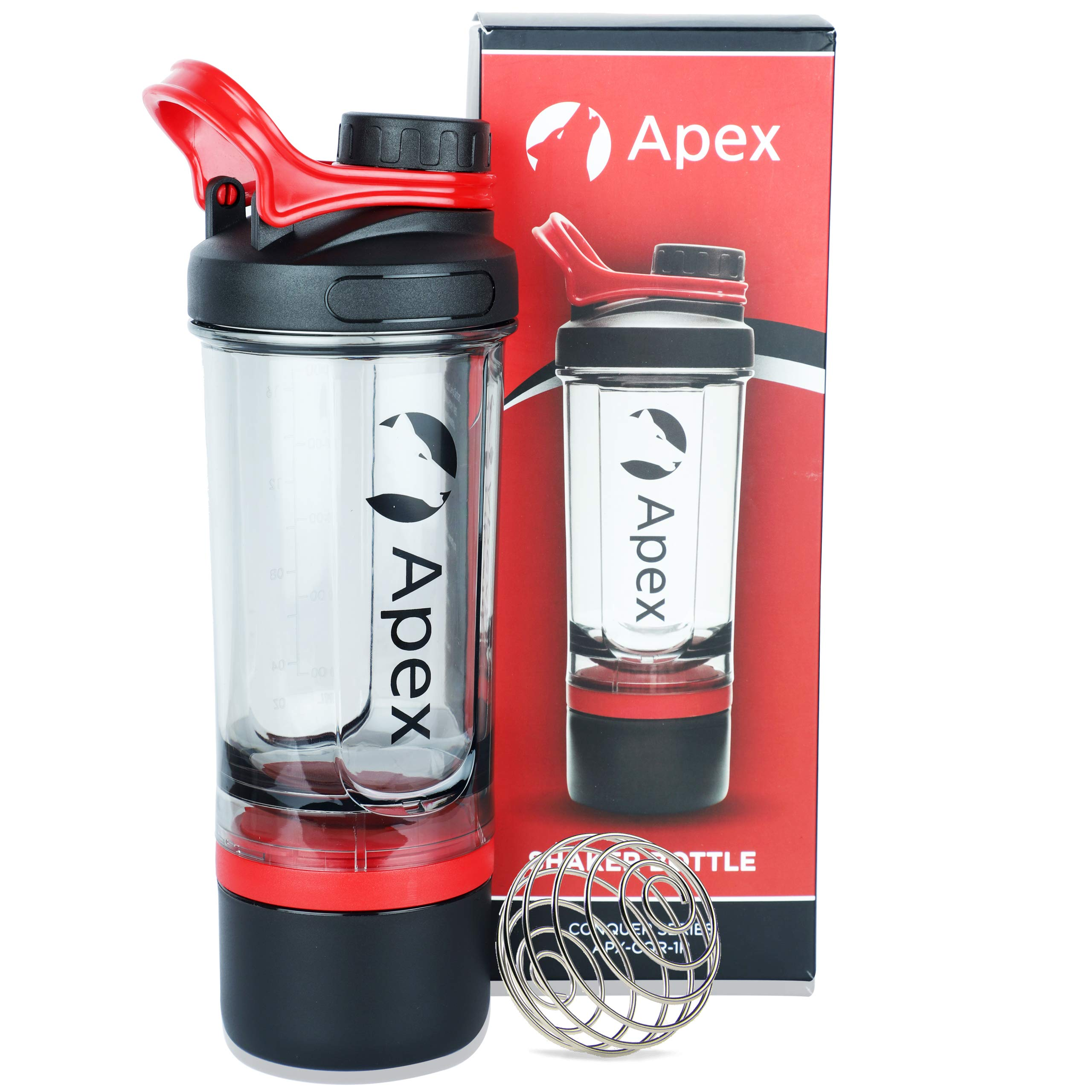 Amazon price history for Apex Protein Shaker Bottle for Gym BPA Free 100% Leak-Proof Design Embossed Measurement Scale; Comes with 2 Extra Compartment Storage and Wire Blender Ball Mixer for Whey & BCAA; 600 ml