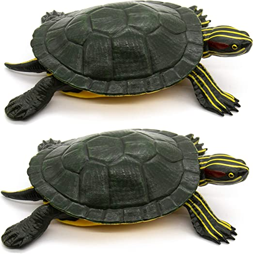 Amazon Com Auear Realistic Plastic Brazilian Turtle Figurines Lifelike Red Eared Slider Tortoises Ocean Animal For Boys And Girls Education Party Favor Decoration Set Of 2 Home Kitchen