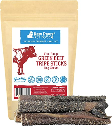 Raw Paws 6-inch Beef Green Tripe Sticks for Dogs – Packed in USA – Dried Tripe Dog Treats from Natural, Free-Range, Grass Fed Cows No Added Antibiotics or Hormones – Dehydrated Green Tripe for Dogs