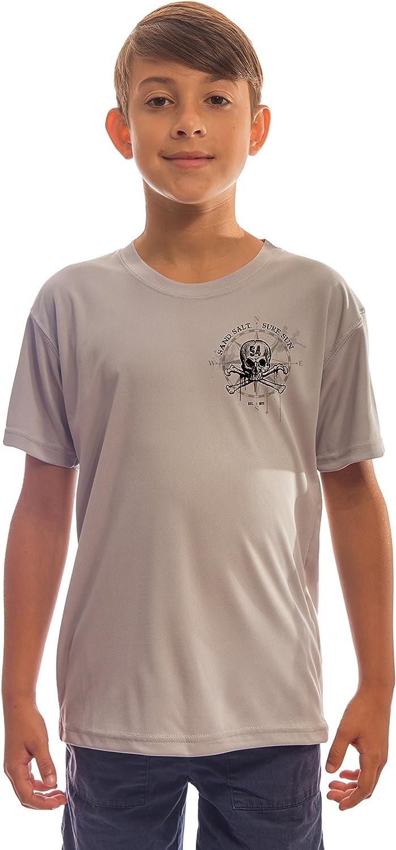 Vintage Octopus Grey Youth UPF 50 Sun Protection Short Sleeve T-Shirt SAND.SALT.SURF.SUN