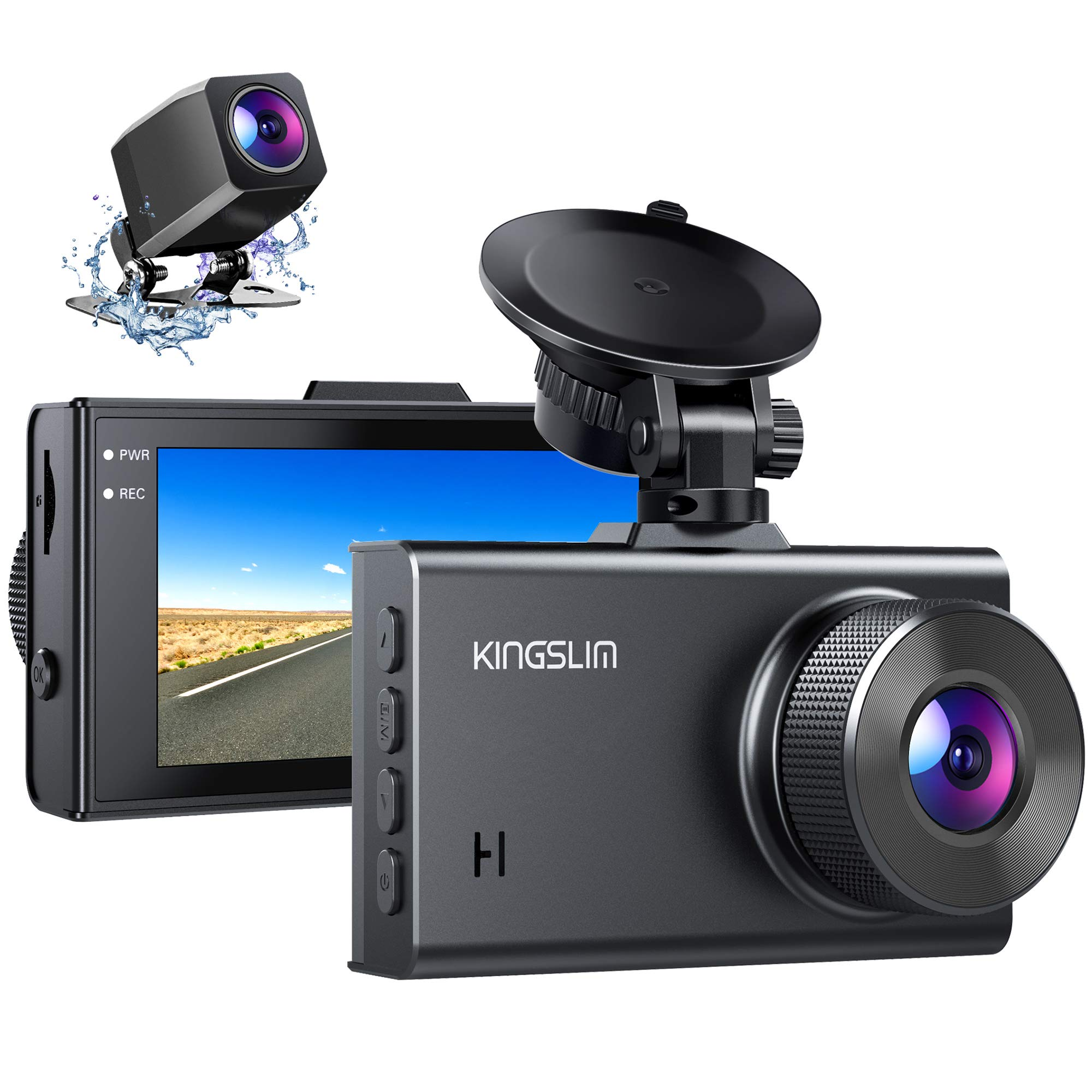 Kingslim D2 2.5K Dual Dash Cam, 1440P/1080P Front and Rear Camera for Cars 170 Degree Driving Recorder with Sony Starvis Sensor Night Vision G-Sensor Parking Mode Support 128GB Max