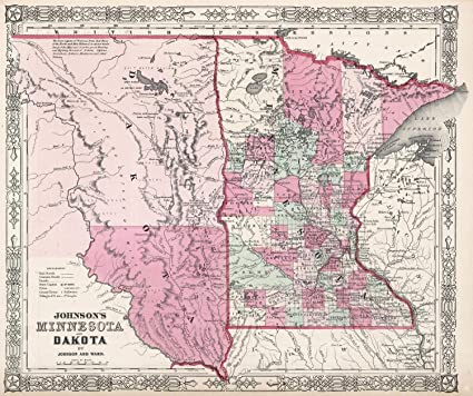 picture about Printable Maps of Minnesota named : Ancient 1862 Johnson Map of Minnesota and