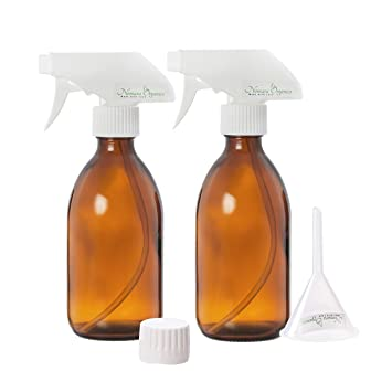 2 x Premium 300 ml botella de Spray de vidrio Set, Por nomara Organics.