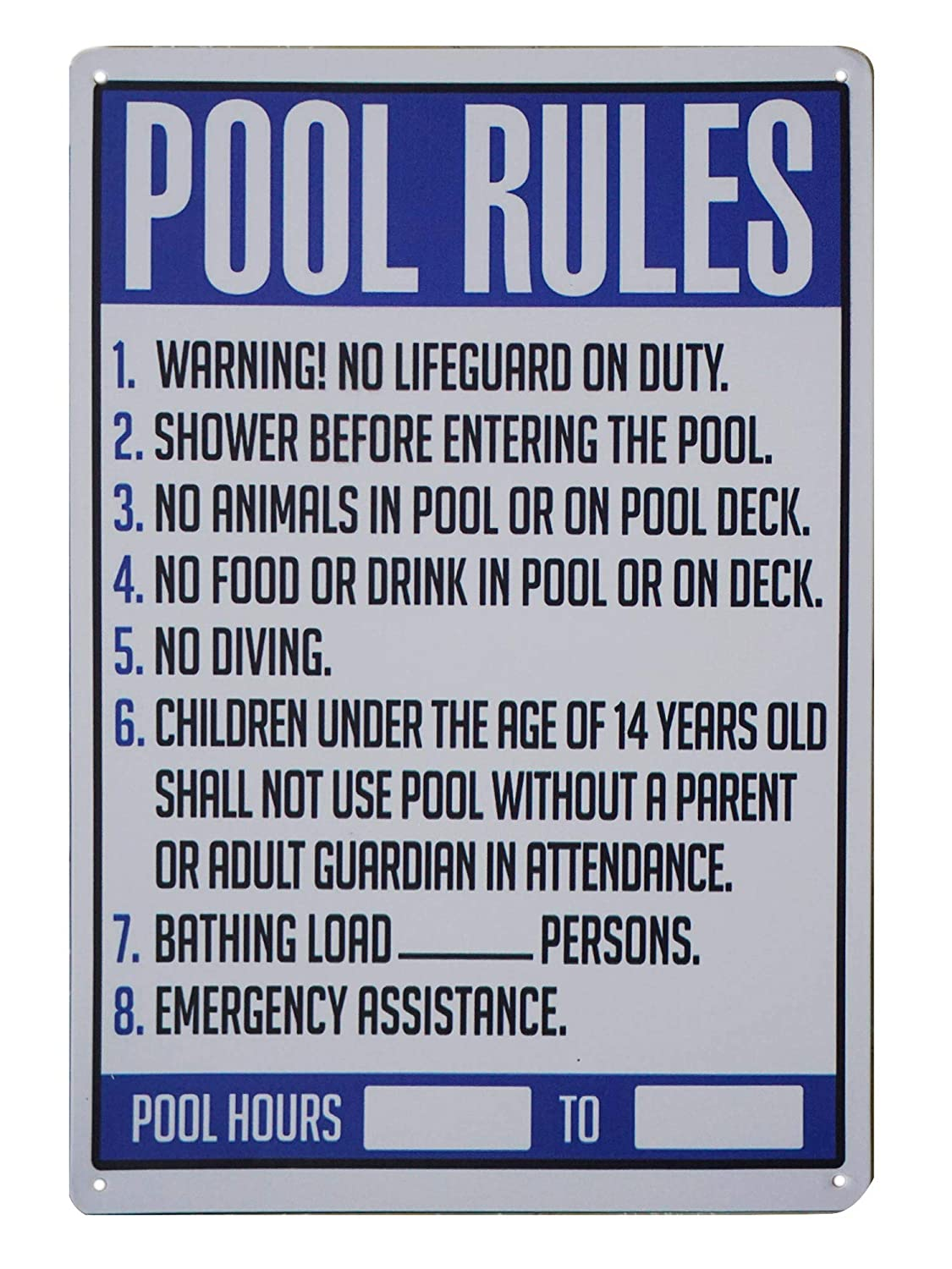 9cd5c0fff0e Amazon.com  Monifith Pool Rules Sign for Commercial Swimming Pools Yard  Signs Outdoor Lawn Decorations 8X12 Inch  Industrial   Scientific