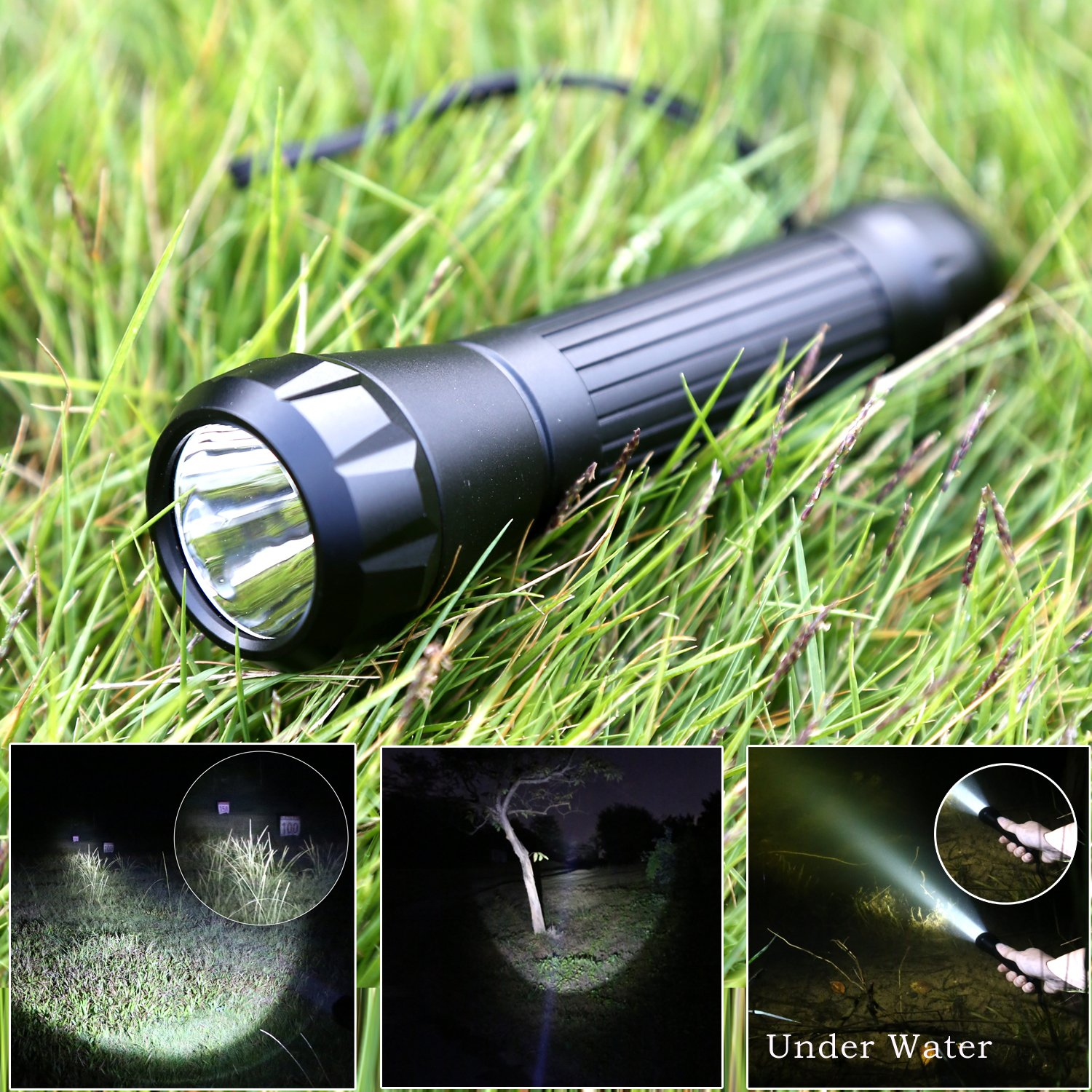 Kamisafe KM-8810 Cree XML Q5 5 Modes Compact LED Flashlight Torch Waterproof Outdoor Flashlight with Wrist Strap
