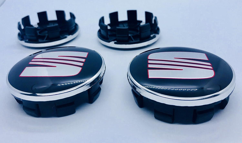 Farben: Chrom OE Group 1P0601165/Set von 4 Zierblenden aus Legierung f/ür 4 Felgen von 63/mm Silber und Rot Logo von Seat in Silber und Rot