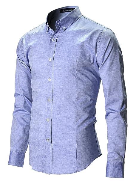 8b93300a2f FLATSEVEN Camicia Uomo Slim Fit Casual Oxford Con Bottoni
