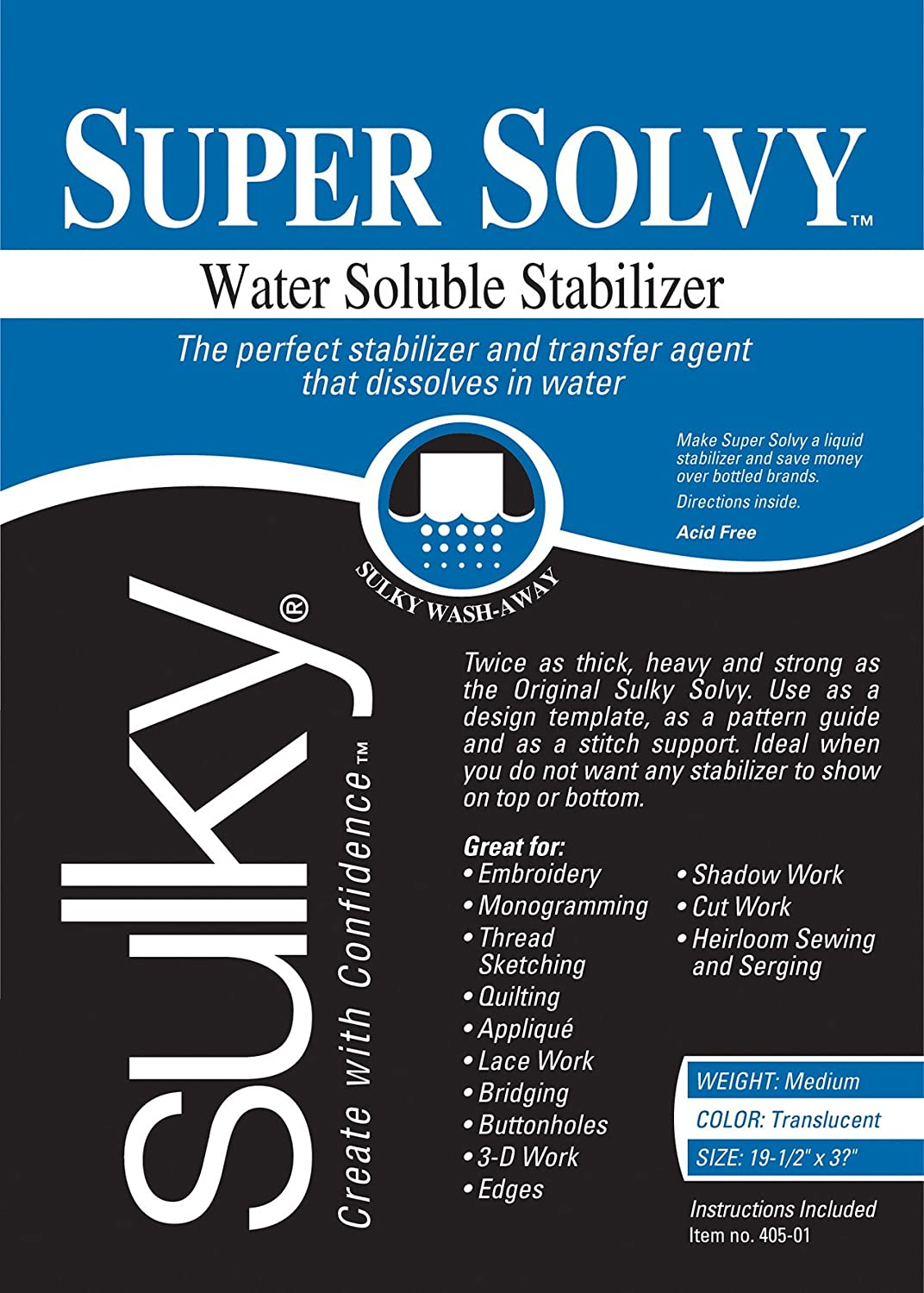 Sulky 19 1/2 x 36-inch Medium Weight Super Solvy Water Soluble Stabilizer