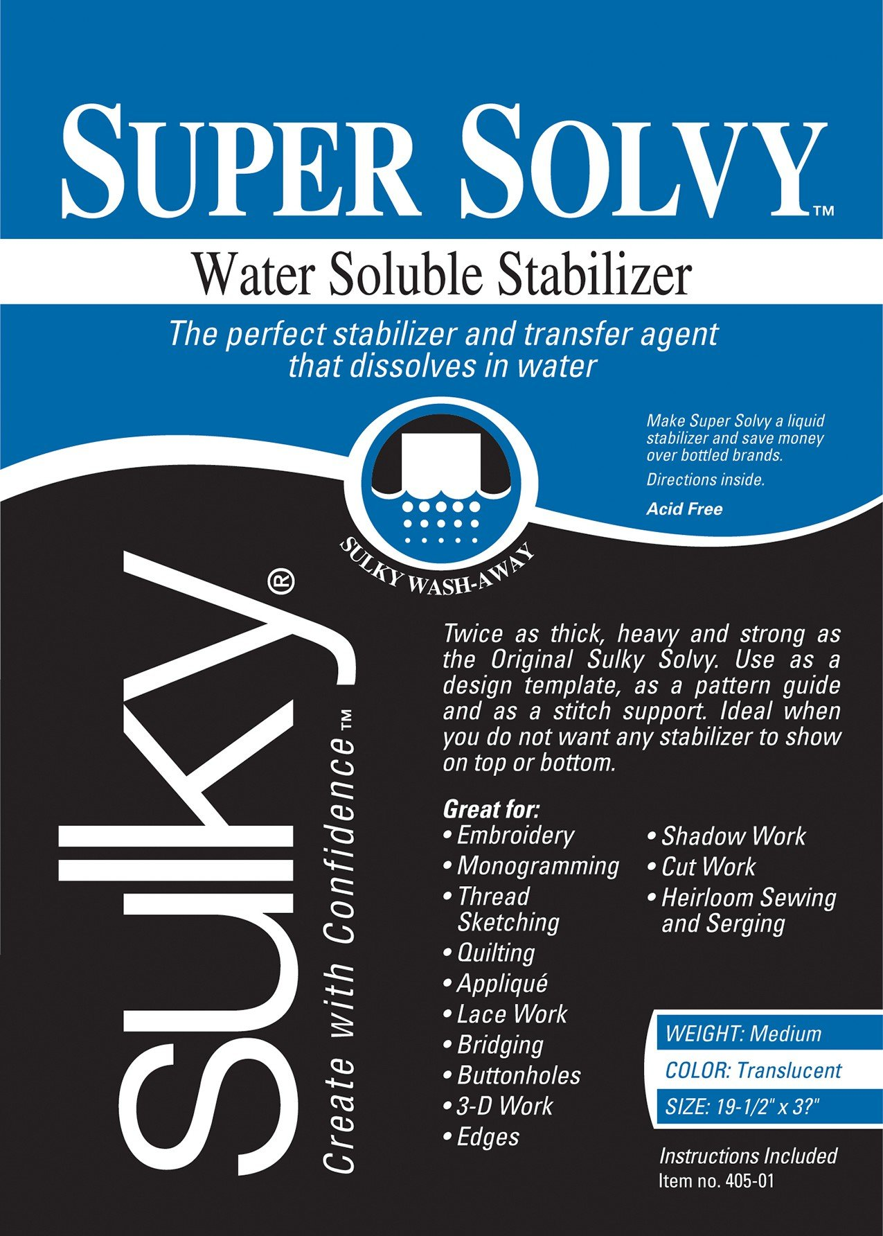 """Sulky 102122 Super Solvy Water-Soluble Stabilizer, 19.5""""X36"""""""