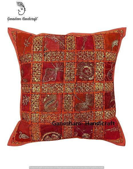 ganesham artesanía – hecho a mano de la India Antique fundas de almohada, Boho Chic bohemio manta almohada insertar Vintage Patchwork decorativo ...