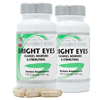 Grandma's Herbs Bright Eyes - Natural Herbal Supplement - Supports Vision Health - Cleanses, Nourishes, Strengthens - Made in The USA w/Eyebright, Bayberry, Fennel Seed - 2 pk (100 Capsules Each)
