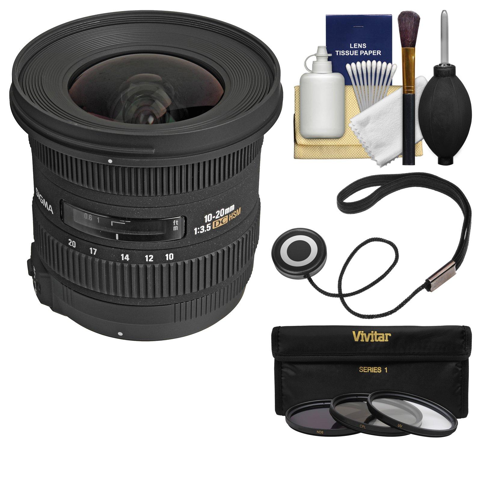 Sigma 10-20mm f/3.5 EX DC HSM Zoom Lens with 3 Filters Kit for Nikon D3300, D3400, D5500, D5600 D7100, D7200, D7500 DSLR Cameras