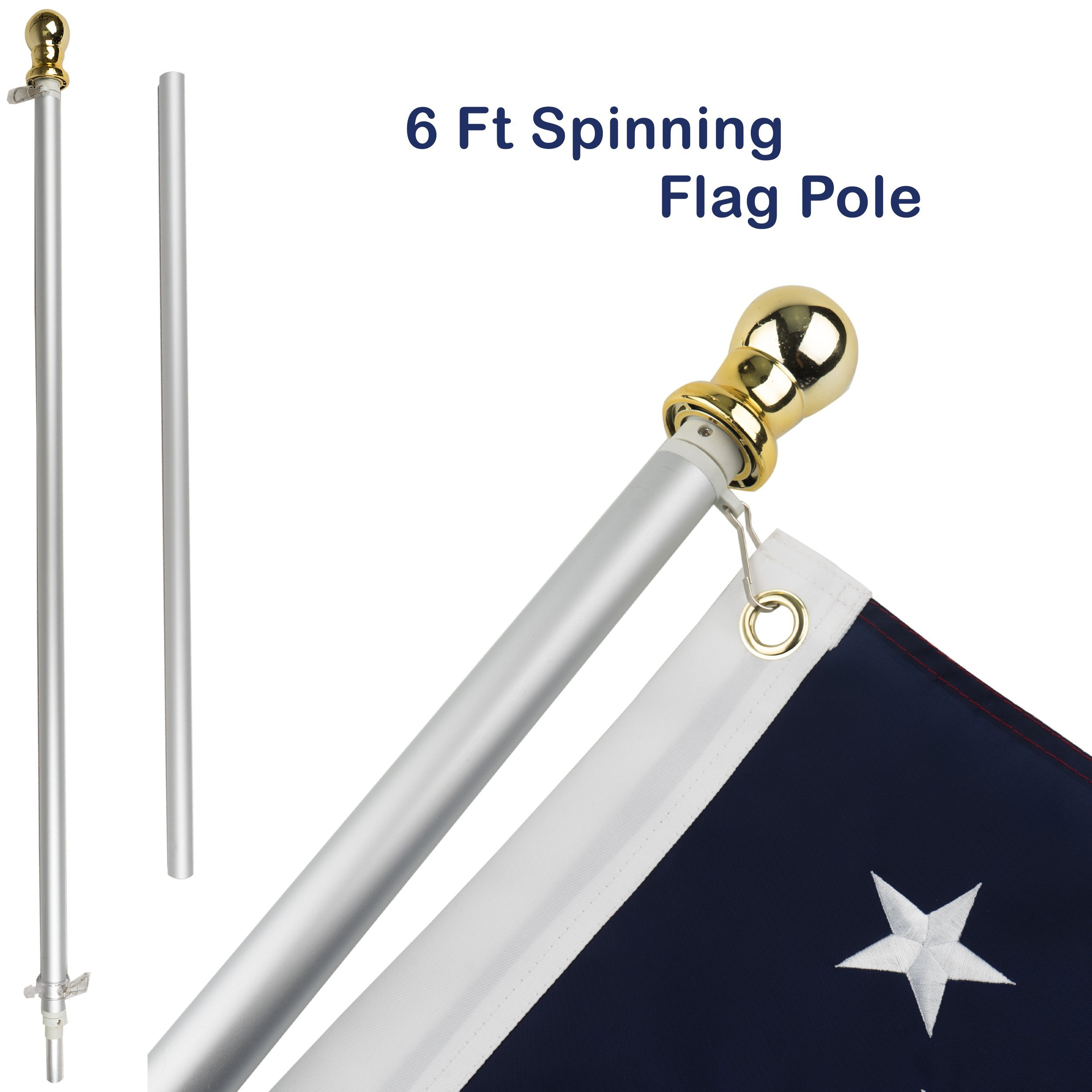 Jetlifee Tangle Free Spinning Flag Pole by Veterans Owned Biz. 6ft Aluminum No Tangle Spinning Pole with Silver Colored Globe Rust Free and Wind Resistant. for Any Home, Residential or Commercial Use