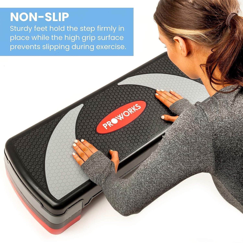 Noir et gris 15 cm ou 10 cm le cardio-fitness 20 cm Proworks Marche a/érobic la musculation Hauteur r/églable pour la maison