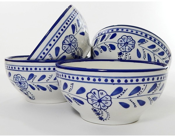 Set of 4 Le Souk Ceramique Azoura Design Stoneware Soup/Cereal Bowls (Tunisia) - 19439590 - Overstock.com Shopping - Great Deals on Le Souk Ceramique Dinnerware