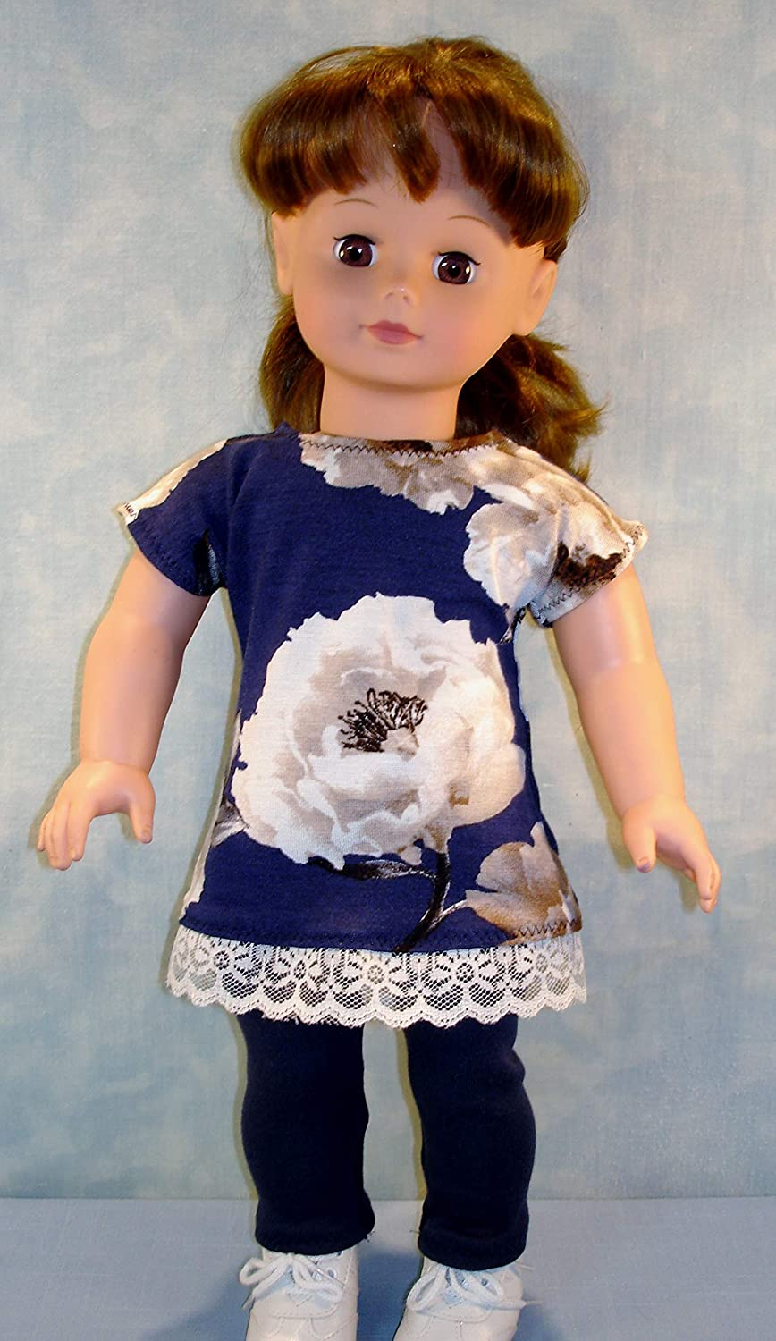 18 Inch Doll Clothes Navy Floral Tunic and Navy Leggings Outfit handmade by Jane Ellen to fit 18 inch dolls