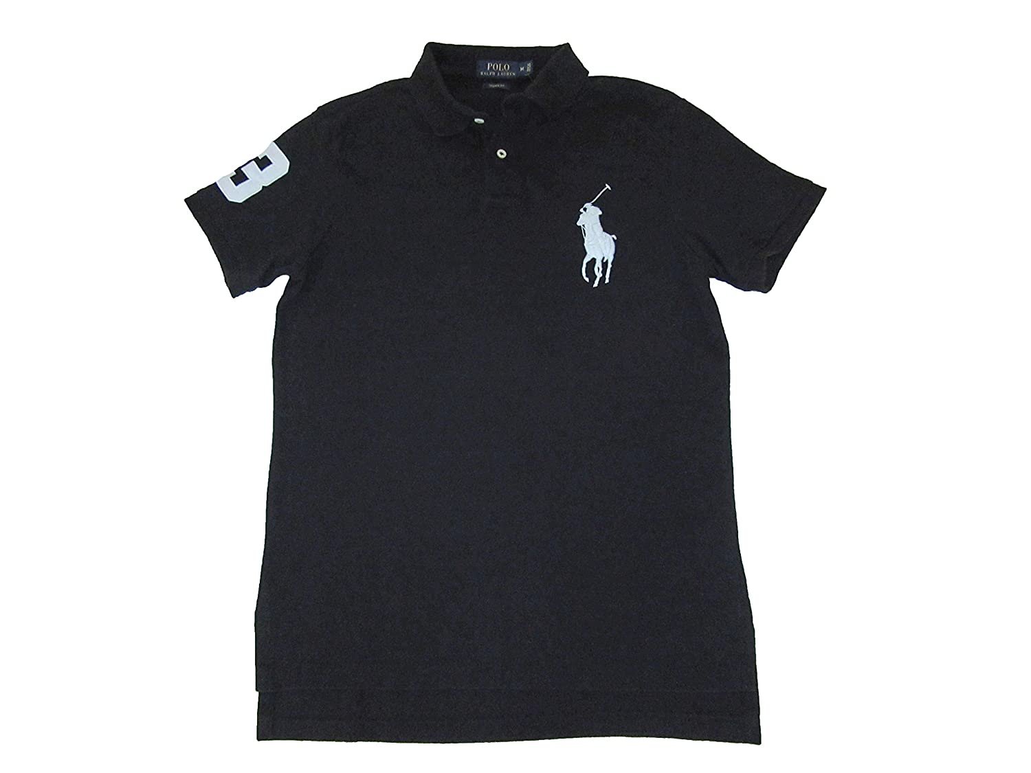 Pony Big Ralph Black Lauren Shirt Mens Custom Fit Polo wPlXiuOTkZ