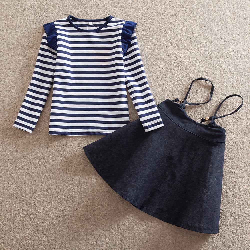 JUXINSU Girls Cotton Long Sleeve T-Shirt Denim Skirt Set for Winter and Autumn 2-7 Years TL612 (Navy, 4T) by JUXINSU (Image #2)