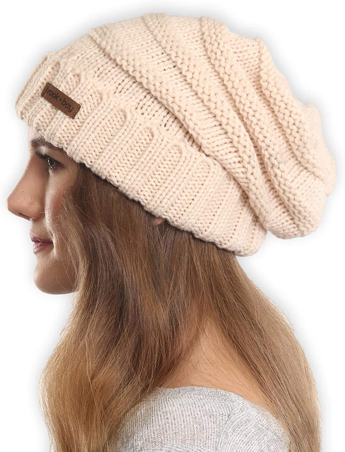 0264384633b Brook + Bay Slouchy Cable Knit Cuff Beanie - Stay Warm   Stylish - Chunky