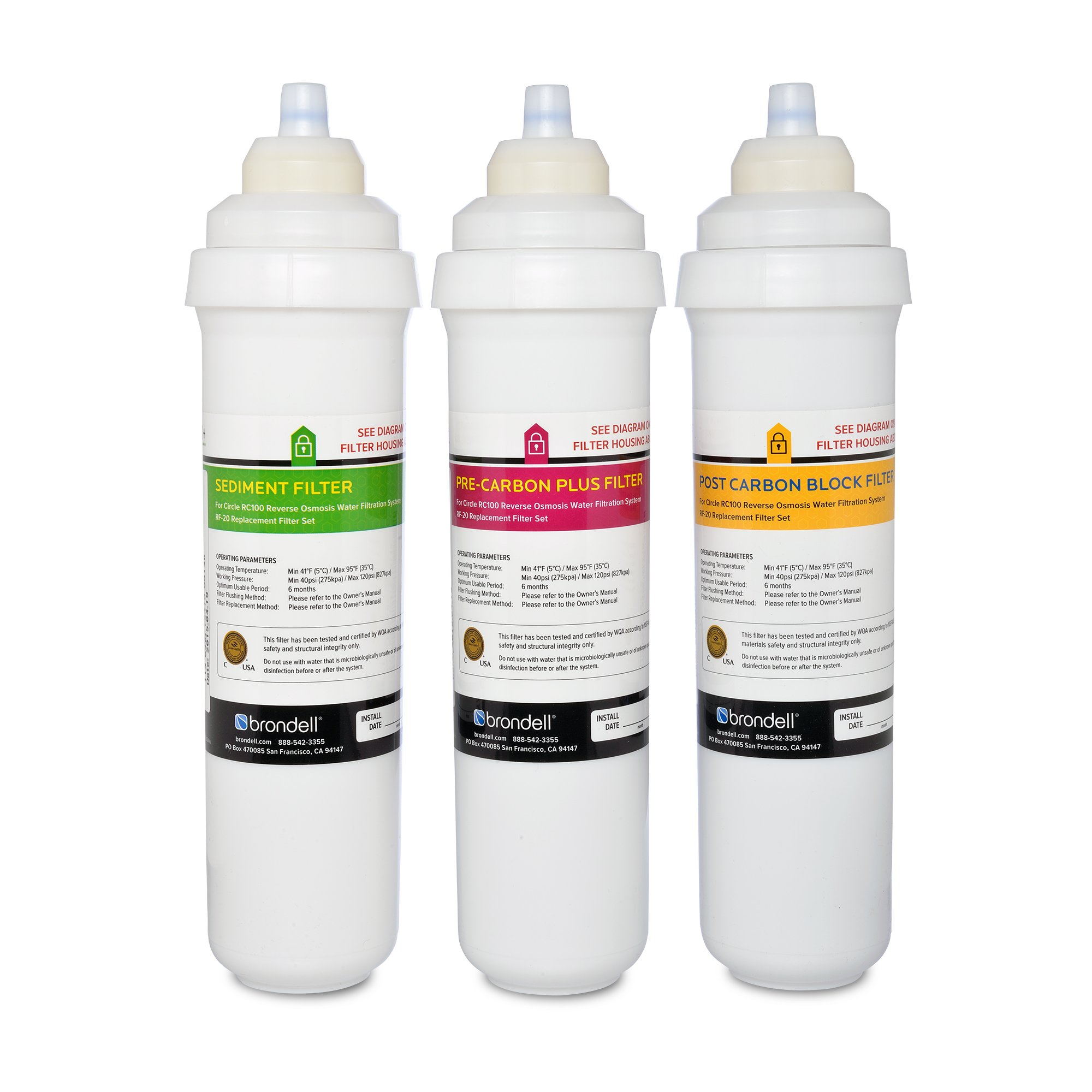 Brondell H2O+ Circle Sediment and Carbon Replacement Filter Pack (RF-20) by Brondell