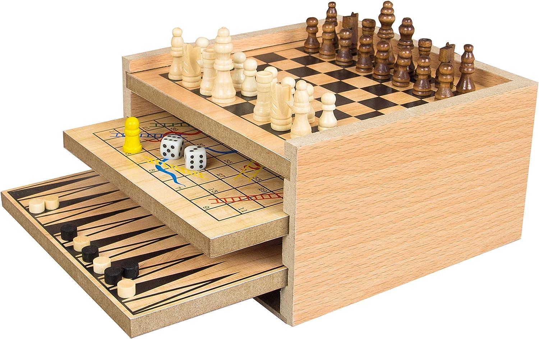 Global Gizmos 51350 7 en 1 colección de Juegos, Color marrón Claro: Amazon.es: Juguetes y juegos