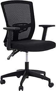 ALPHA HOME Office Chair Ergonomic Home Desk Chair Mid Back Mesh Computer Task Chair with Lumbar Support Executive Stool with Adjustable Armrest & Seat Cushion Rolling Swivel Reclining Chair