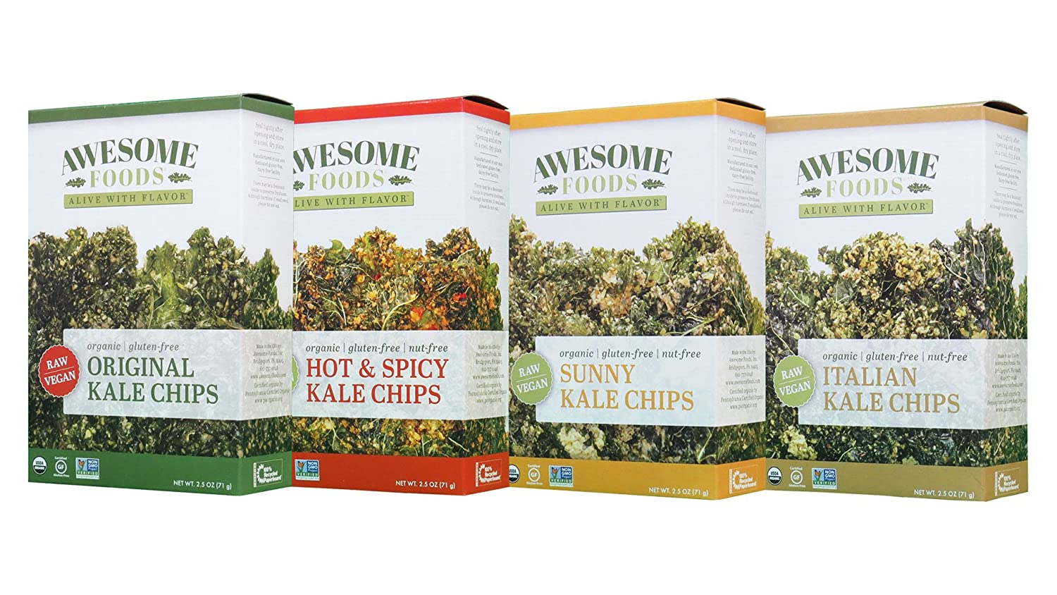 Awesome Foods, Organic, Gluten-Free, Plant-based, Non-GMO, Kale Chip Variety 8 Pack