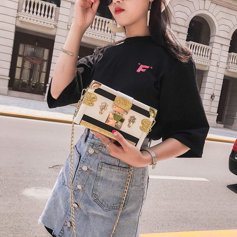 Stitching Color Sequin Pu Leather Box Style Party Clutch Bag Evening Bag Chain Purse Mini Shoulder Bag Messenger Bag