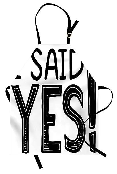 Amazon.com: Ambesonne Engagement Party Apron, I Said Yes ...