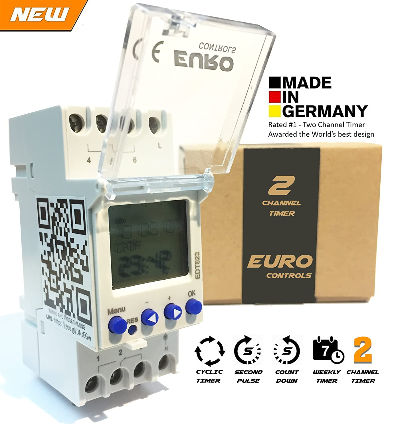 Euro Din Type 2 Channel Digital Timer Controller Switch Edt822 Circuit Breaker With Programmable Rail Mounting Pin Code Lock Home Improvement