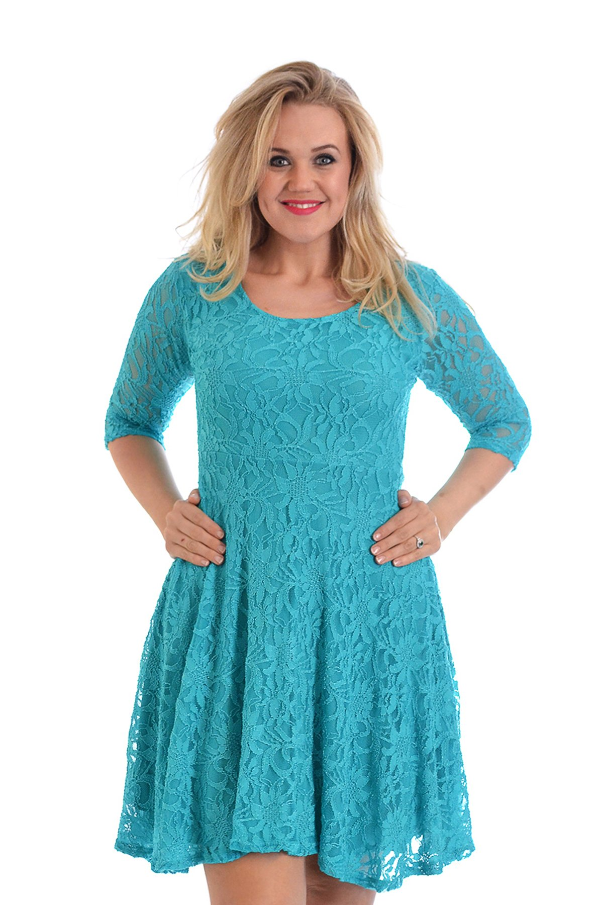 Nouvelle Collection Womens Plus Size Dress Ladies Skater Style Floral Lace Flared Party Wear Round Neck Turquoise US Size 14