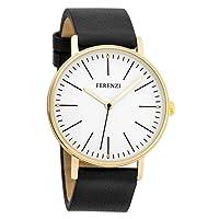 Ferenzi Women's FZ17203 Classic Gold-Tone and Black Large Minimalist Analogue Quartz Fashion Watch