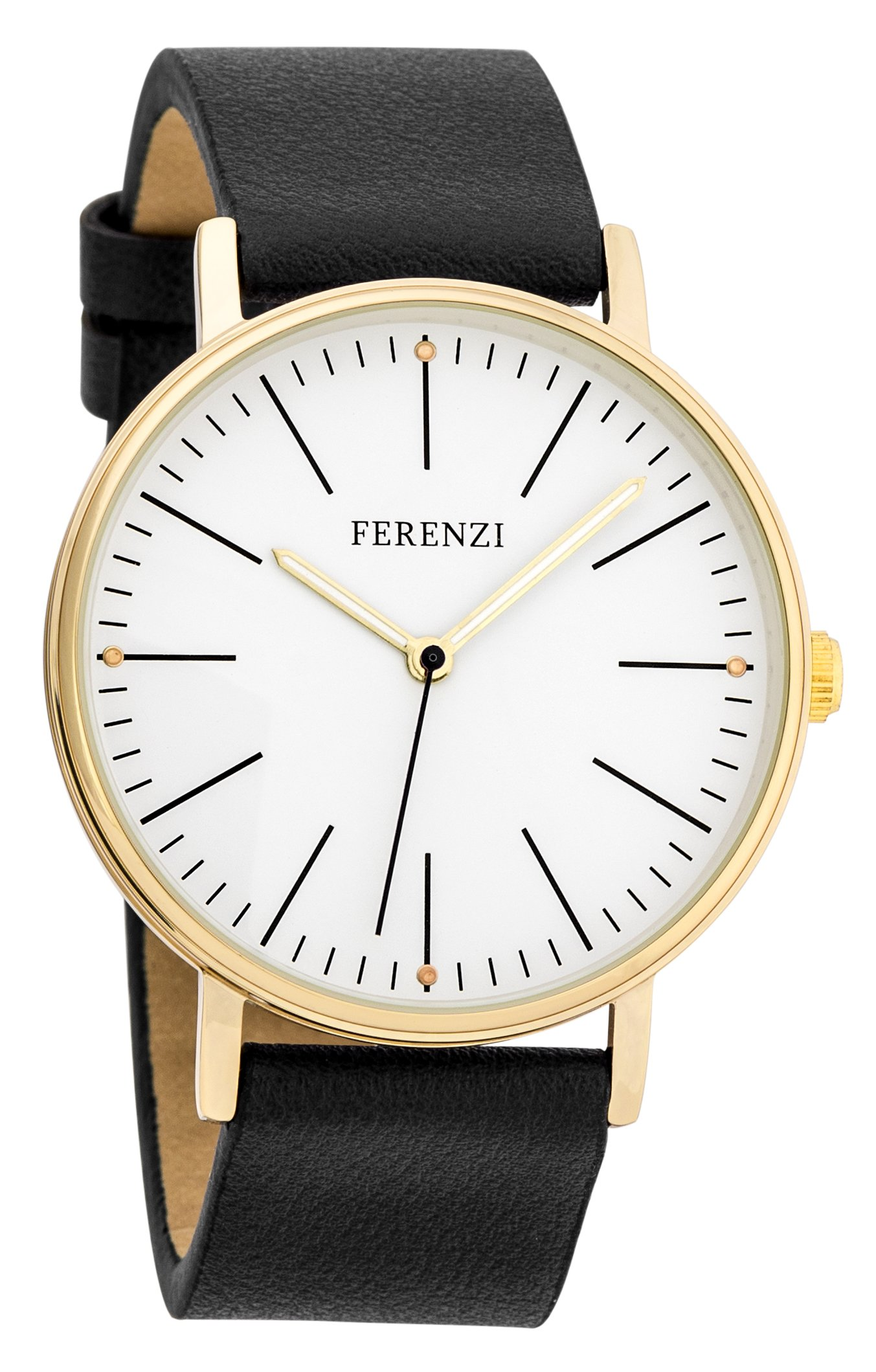 Ferenzi Women's FZ17203 Classic Gold-Tone and Black Large Minimalist Analogue Quartz Fashion Watch