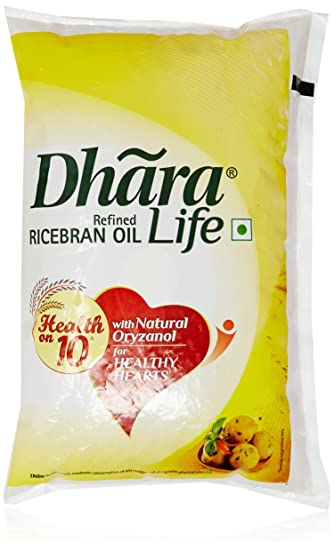 Dhara Rice Bran Oil Pouch, 1L