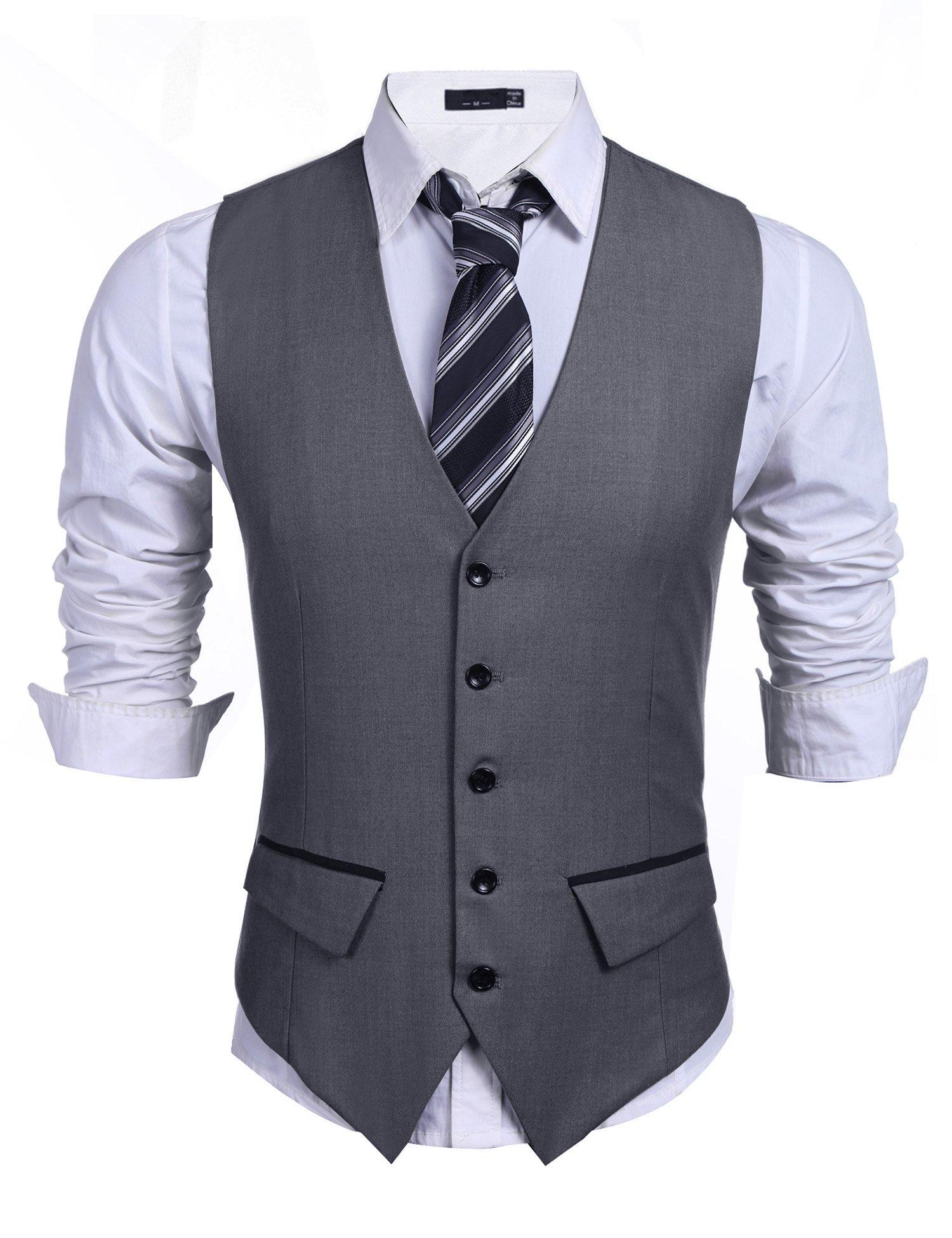 Jinidu Men's Business Suit Vest,Slim Fit Skinny Wedding Waistcoat (Medium, Solid Dark Grey)