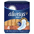 Always Maxi Feminine Pads for Women, Size 4, Overnight Absorbency, Unscented, with Wings, 14 Count-Pack of 6 (84 Count Total) (Package May Vary)
