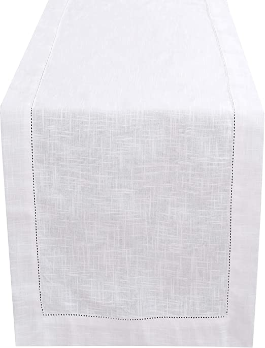Amazon Com White Table Runner 90 Inch In Textured Cotton Slub With Hemstitched Detailing Decorative Table Runner Farmhouse Table Runner Rustic Bridal Table Runner Wedding Table Runner 16x72 Inch White Home Kitchen