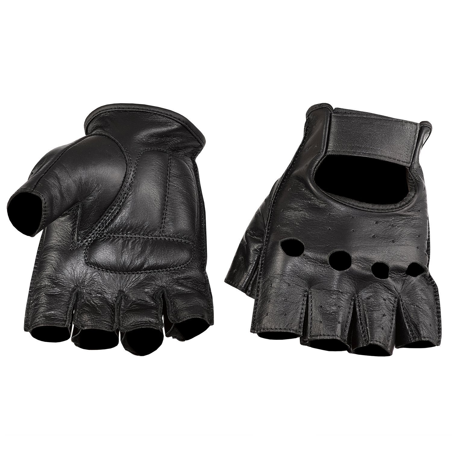 NEW PRODUCT Viking Cycle Men' s Premium Leather Half Finger Motorcycle Cruiser Gloves (Large, Black)