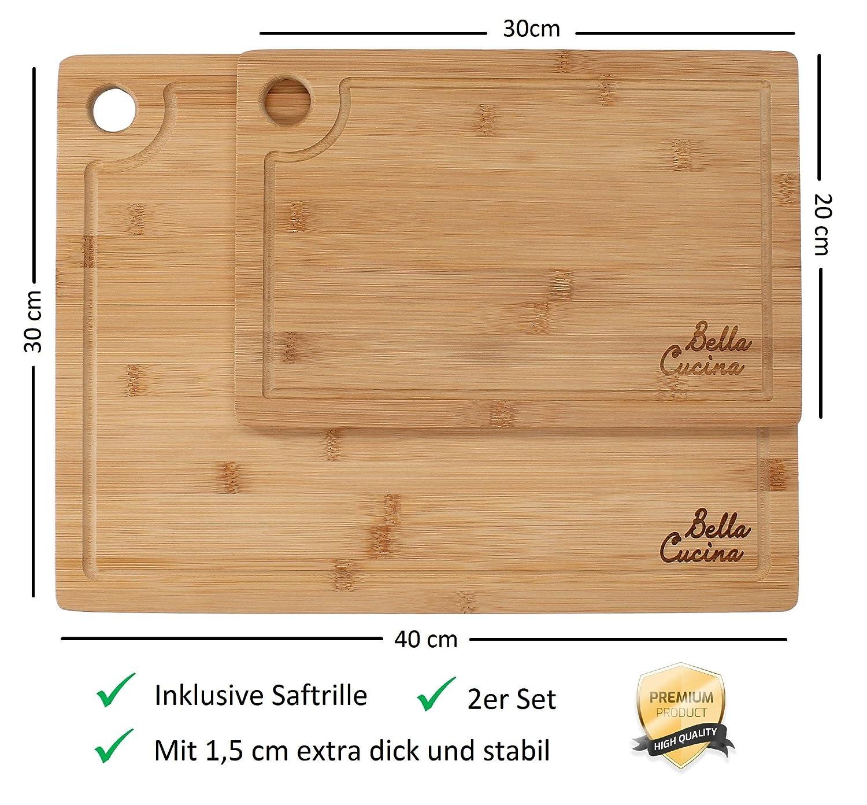 Bella Cucina© Original Bambus Schneidebrett 2er Set | Massive Küchenbretter  aus Holz als Einzel- und 2er Set | Inklusive Saftrille und Loch zum ...
