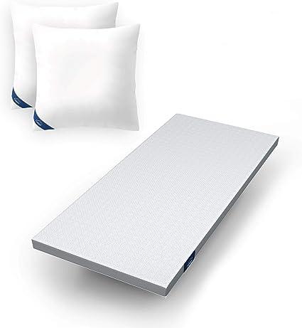 Genius Eazzzy - Cubrecolchón para colchones y Camas con somier (viscoelástico, Apto para alérgicos, tamaño 90 x 200 x 7 cm, 2 Fundas de Almohada de 80 ...