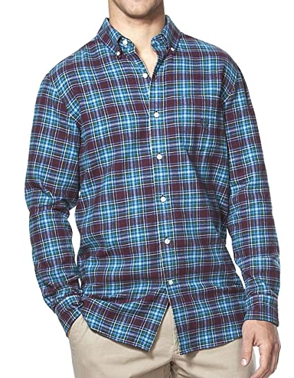 085db200 Chaps Mens Classic Fit Flannel Shirt Blue Red Plaid Check at ...