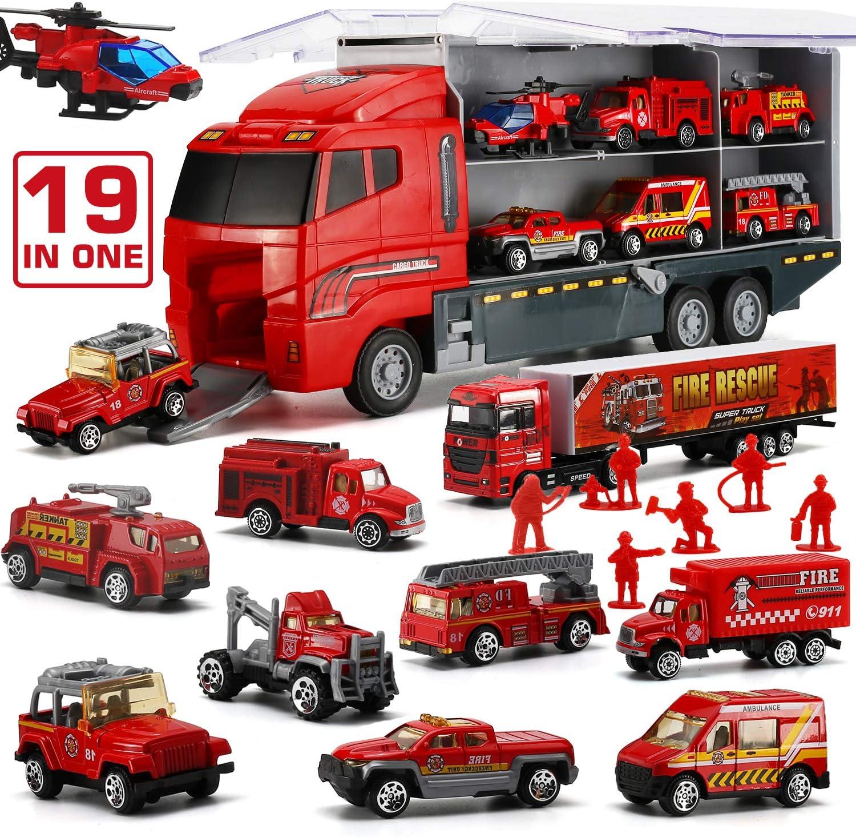 Camión de Bomberos, Set de Coches de Juguetes Fundidos a Presión de Rescate Emergencia Transporte 19 en 1, Juguetes Niños Educativos de 3 4 5 6 años para Cumpleaños Navidad Fiestas Escuelas